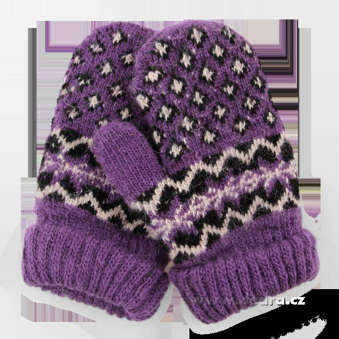 Dětské pletené palčáky - fialové