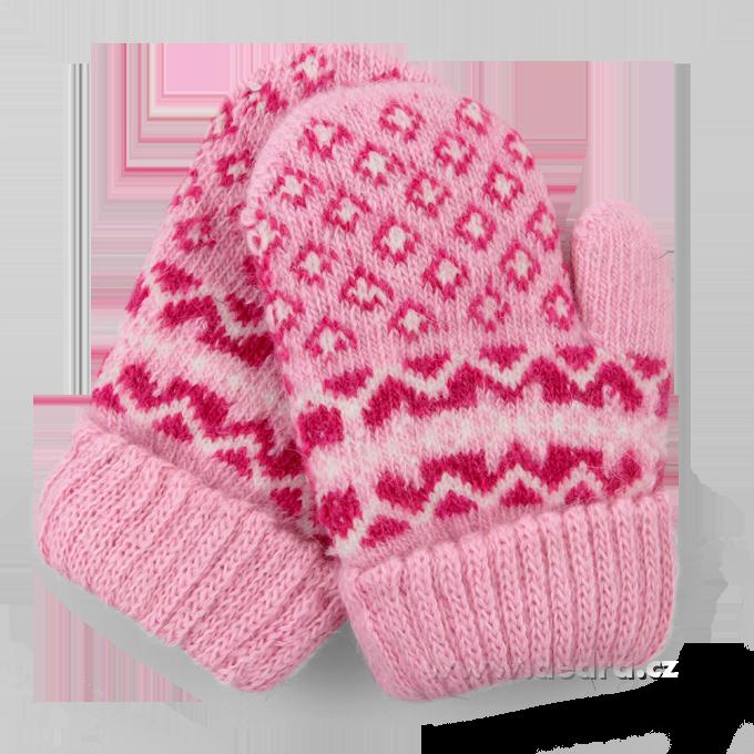 Dětské pletené palčáky - růžové