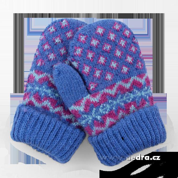 Dětské pletené palčáky - modré