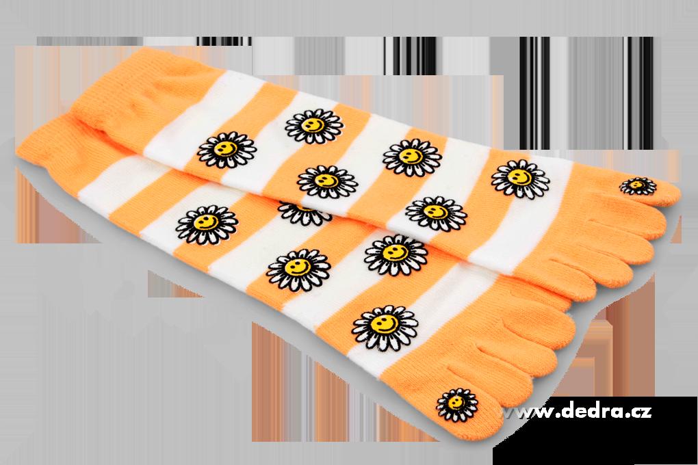 Prstové vyššíponožky s kopretin.oranžovo-bílé