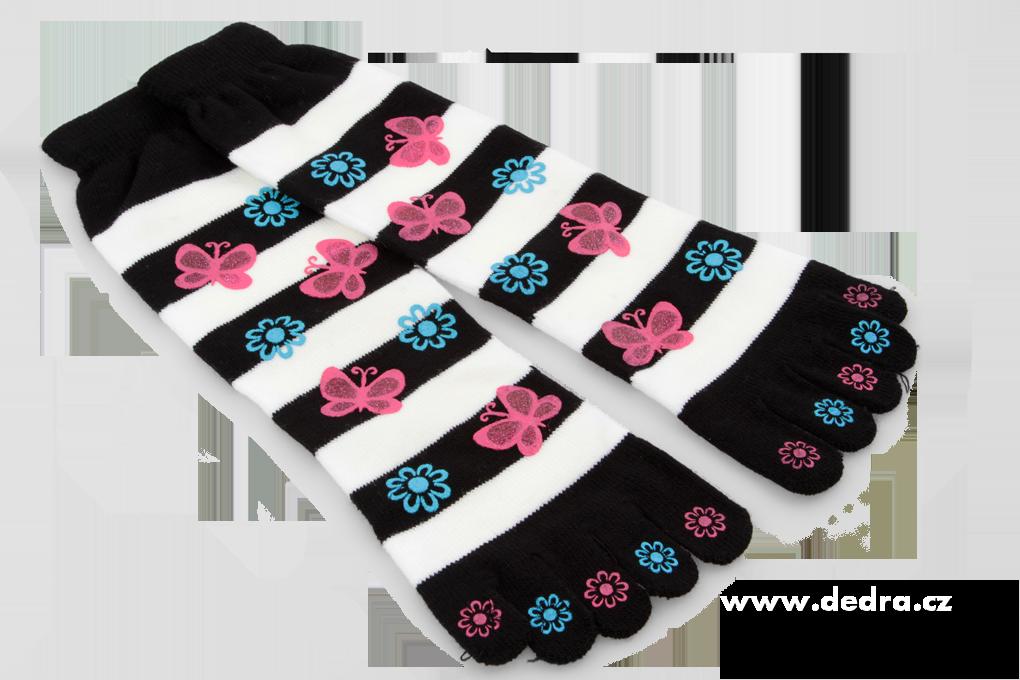 Prstové vyšší ponožky s motýlky černo-bílé