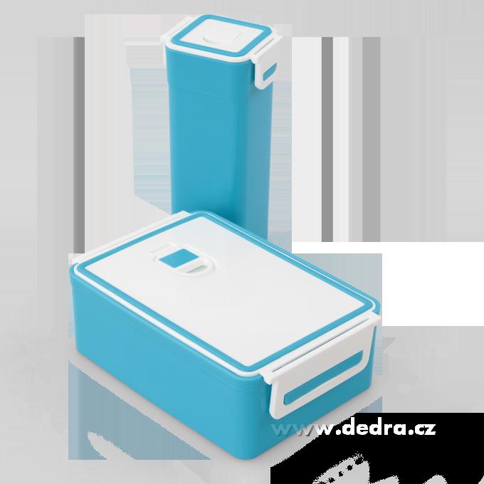 SVAČINÁTORY sada 2ks vzduchotesných boxov na potraviny, modrý