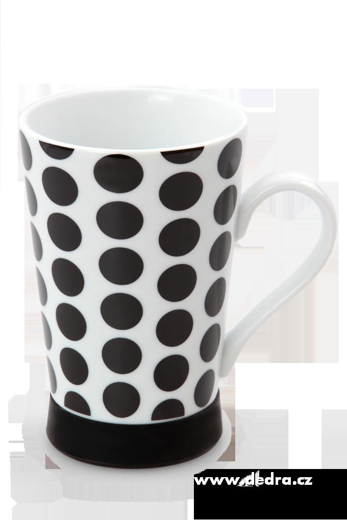 Vysoký porcelánový hrnek 330 ml černý puntíkatý