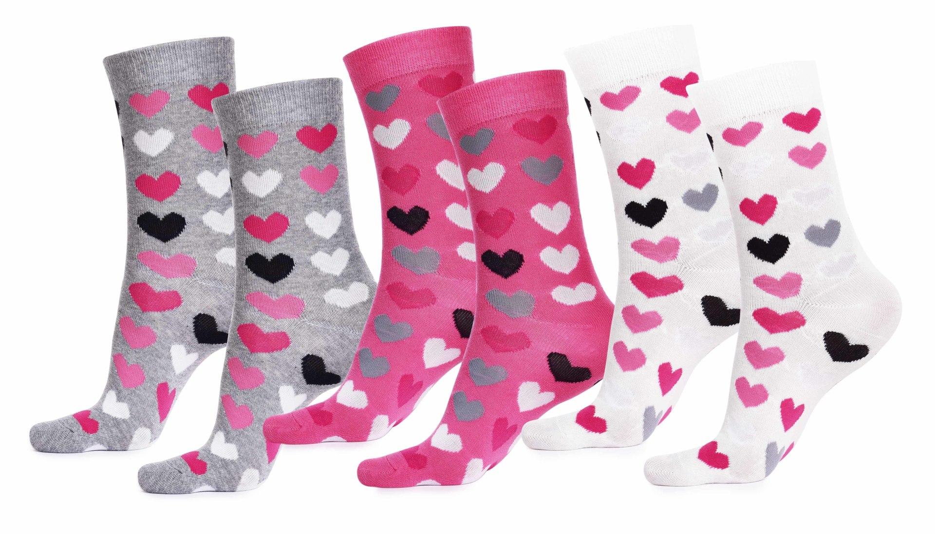 Sada 3 párů dámských ponožek REBELS, srdíčka