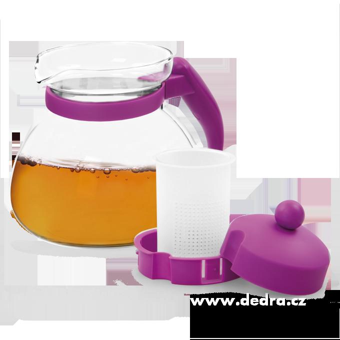 SKLENĚNÁ KONVICE fialová, 1500 ml