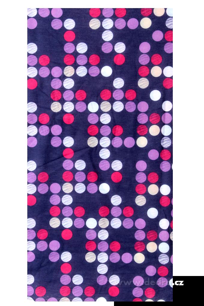 Multifunkční šátekfialový s puntíky