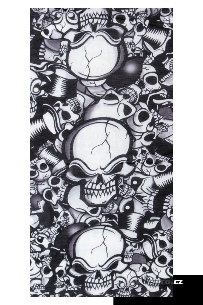 Multifunkční šátekčerný s lebkami