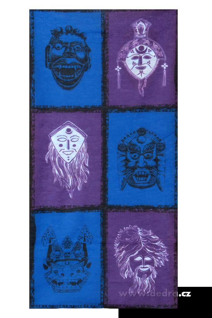 Multifunkční šátekmodro-fial.s maskami