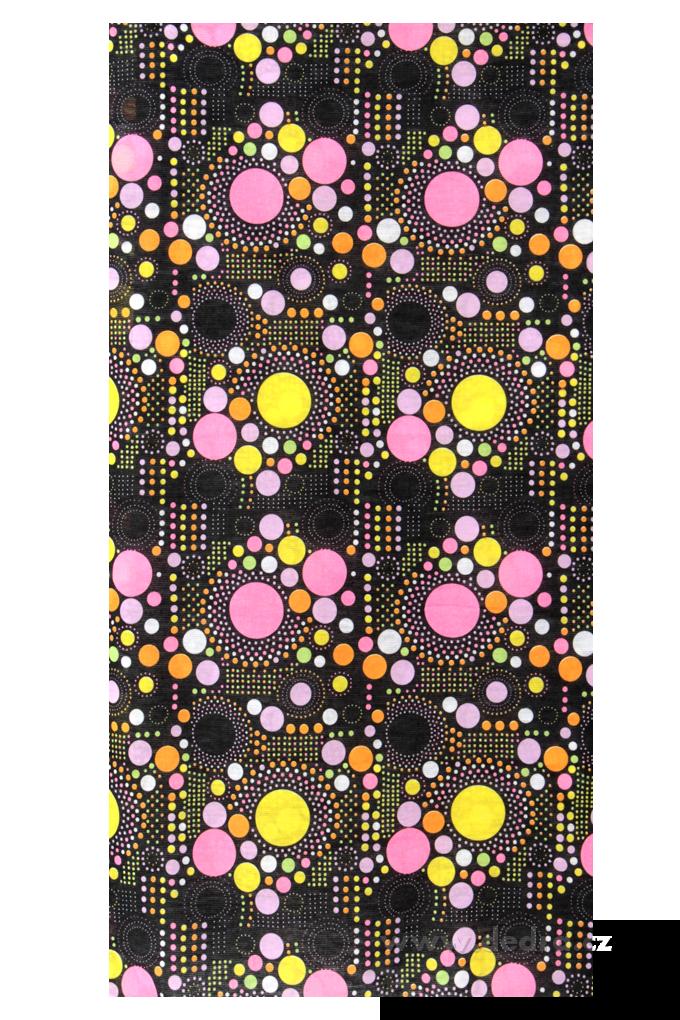 Multifunkční šátek, černý s barevn.punt.