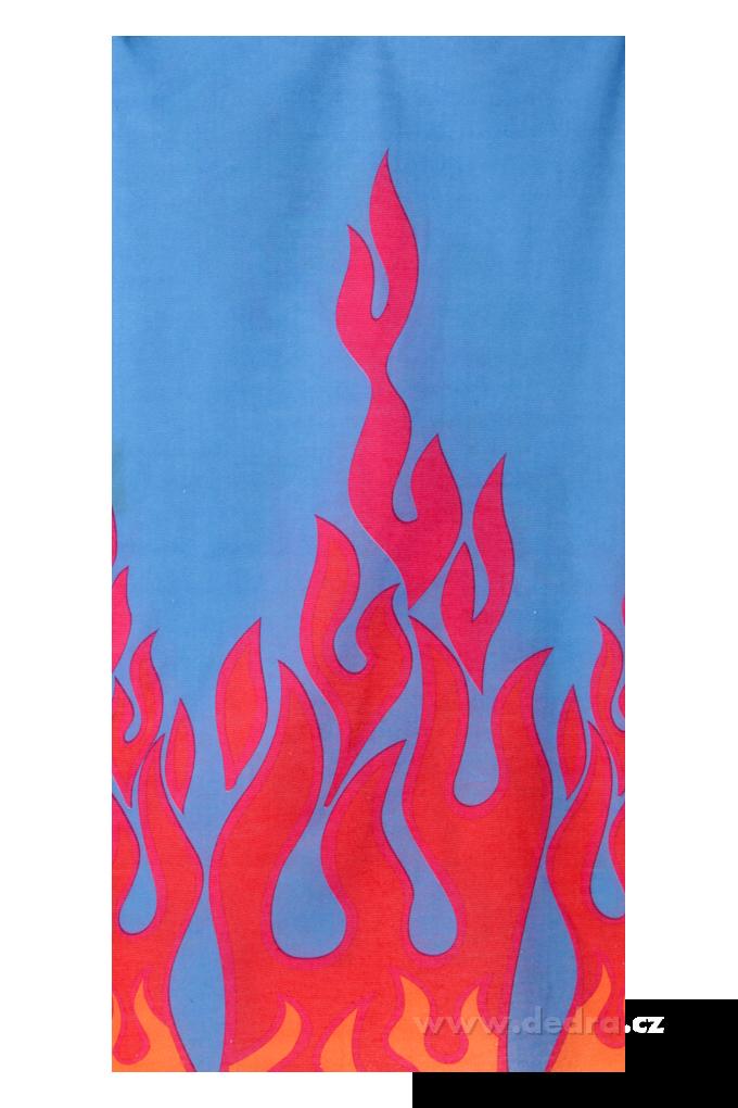 Multifunkční šátek, jasně modrý, plameny