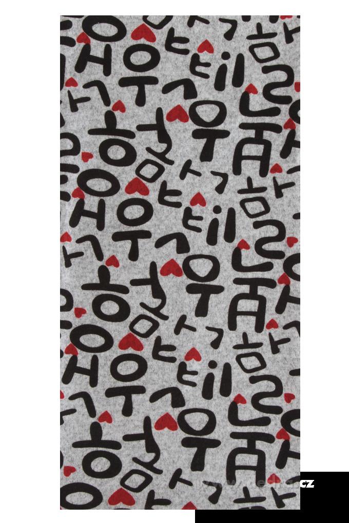 Multifunkční šátek, se srdíčky a písmeny