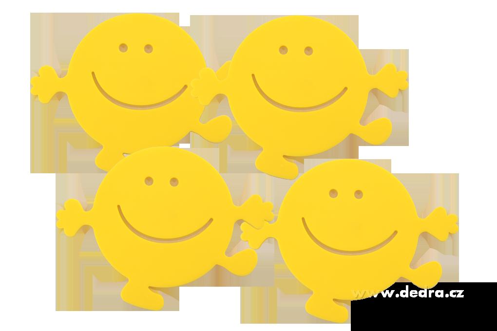 4dílné sady podložek žlutí smajlíci