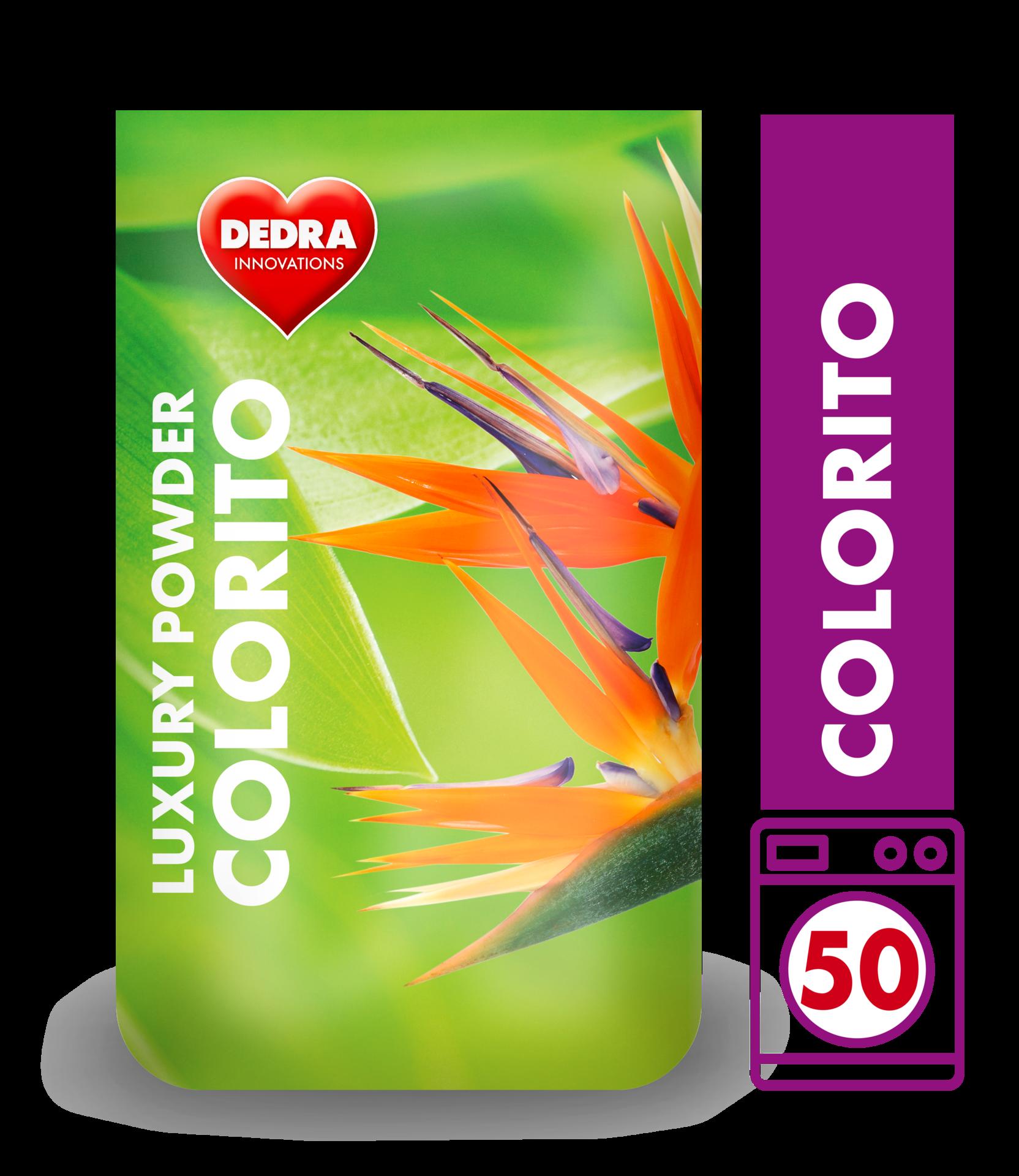 COLORITO prací prášek na barevné prádlo, koncetrovaný, v obalu GREENPACK