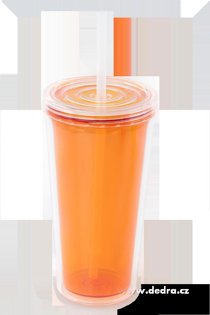 KELIMERO s brčkemdvoustěnný termohrnek - oranžové