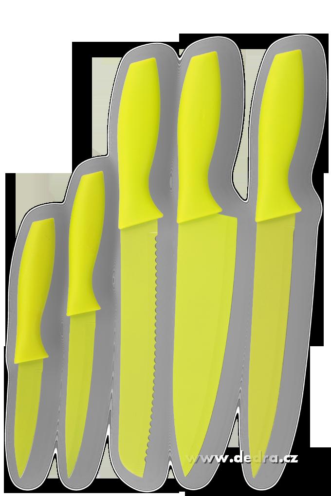 Sada 5 ks nožůGOURMET jasně zelenánepřilnavý povrch