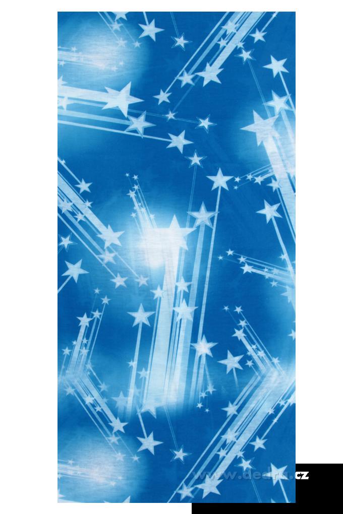 Multifunkční šátek, modrý s hvězdami