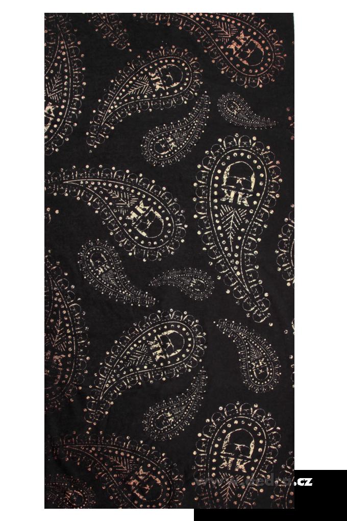 Multifunkční šátek, černý s ornamentem