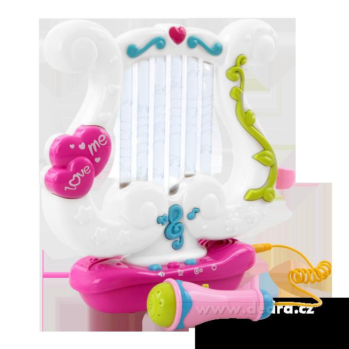 Velká kouzelná, hrací a blikající harfa, elektronická