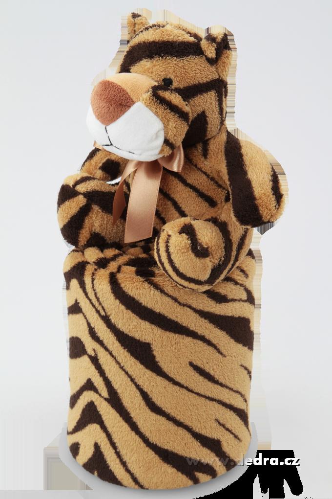 LAGOON přikrývka s plyšovým zvířátkem tygřík