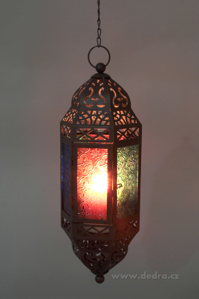DA74501-Závesná lampáš s farebnými výplňami tmavo hnedá patina