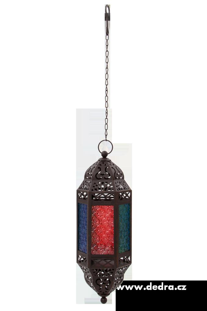 Závesný kovový lampáš s farebnými výplňami tmavo hnedá patina