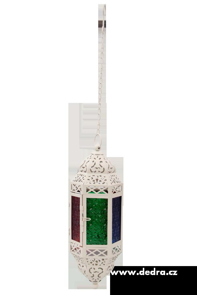 Závesný kovový lampáš s farebnými výplňami slonovinová kosť