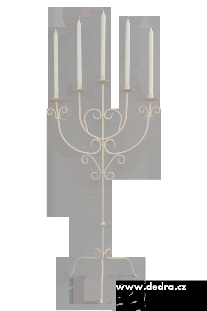 Velký pětiramenný kovový svícen slonovinová kost