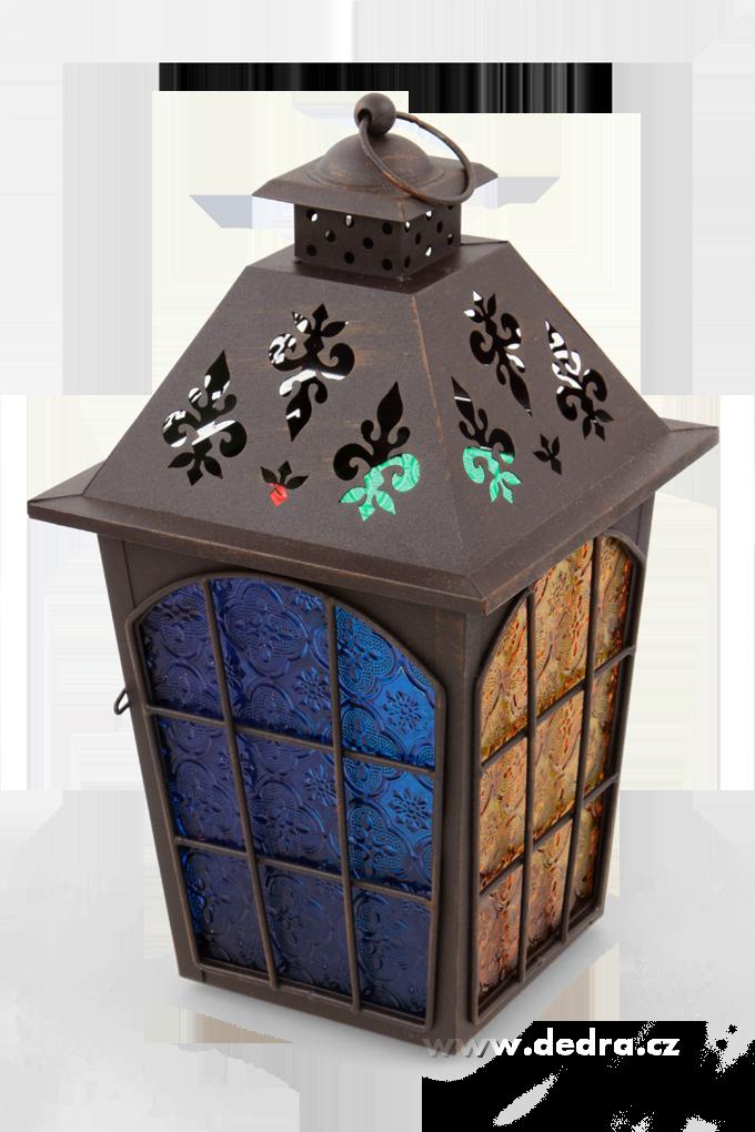 Velká kovová lucerna s barevnými výplněmi tmavě hnědá patina
