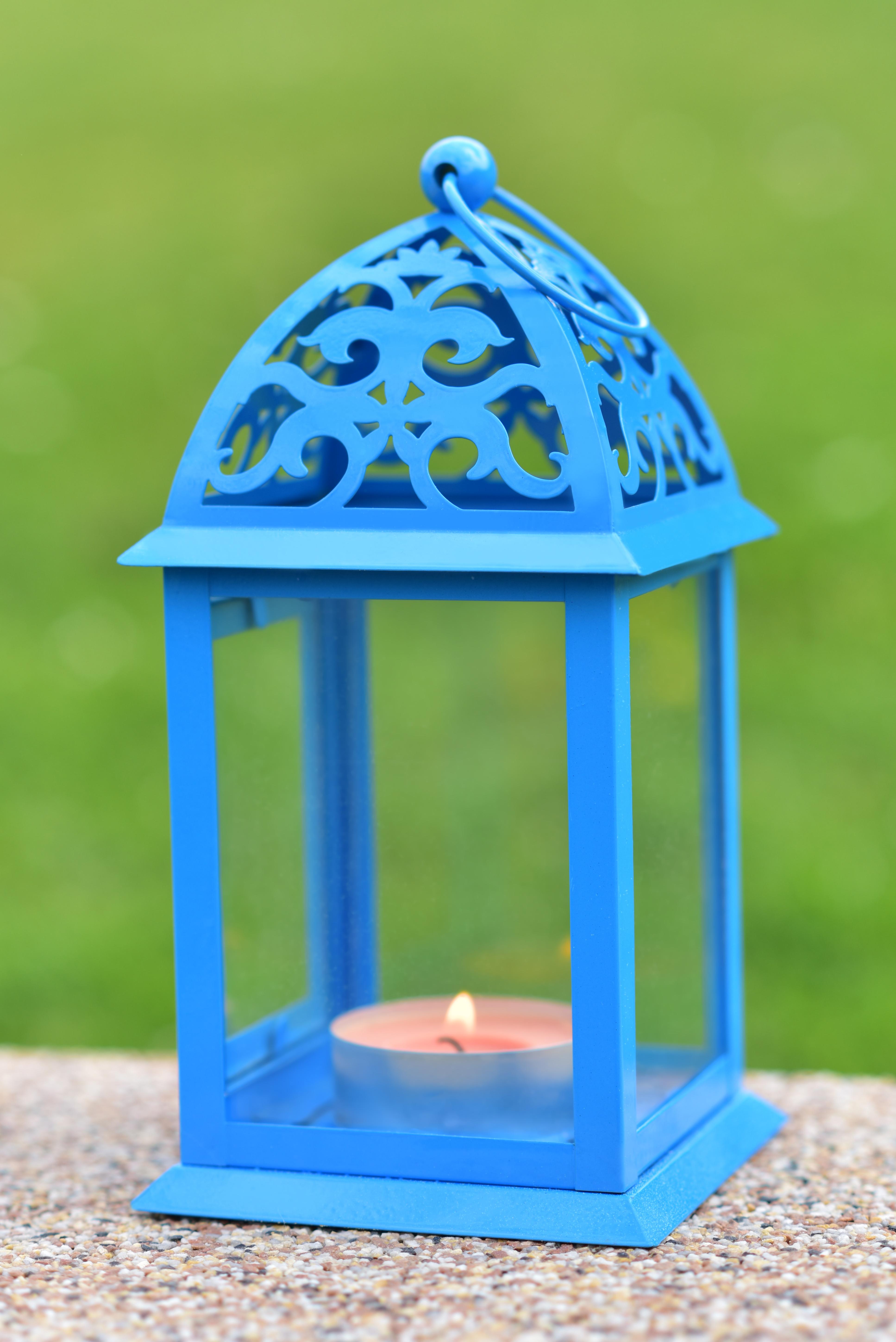 Kovová lucerna modrá 11 x 11 x 22 cm