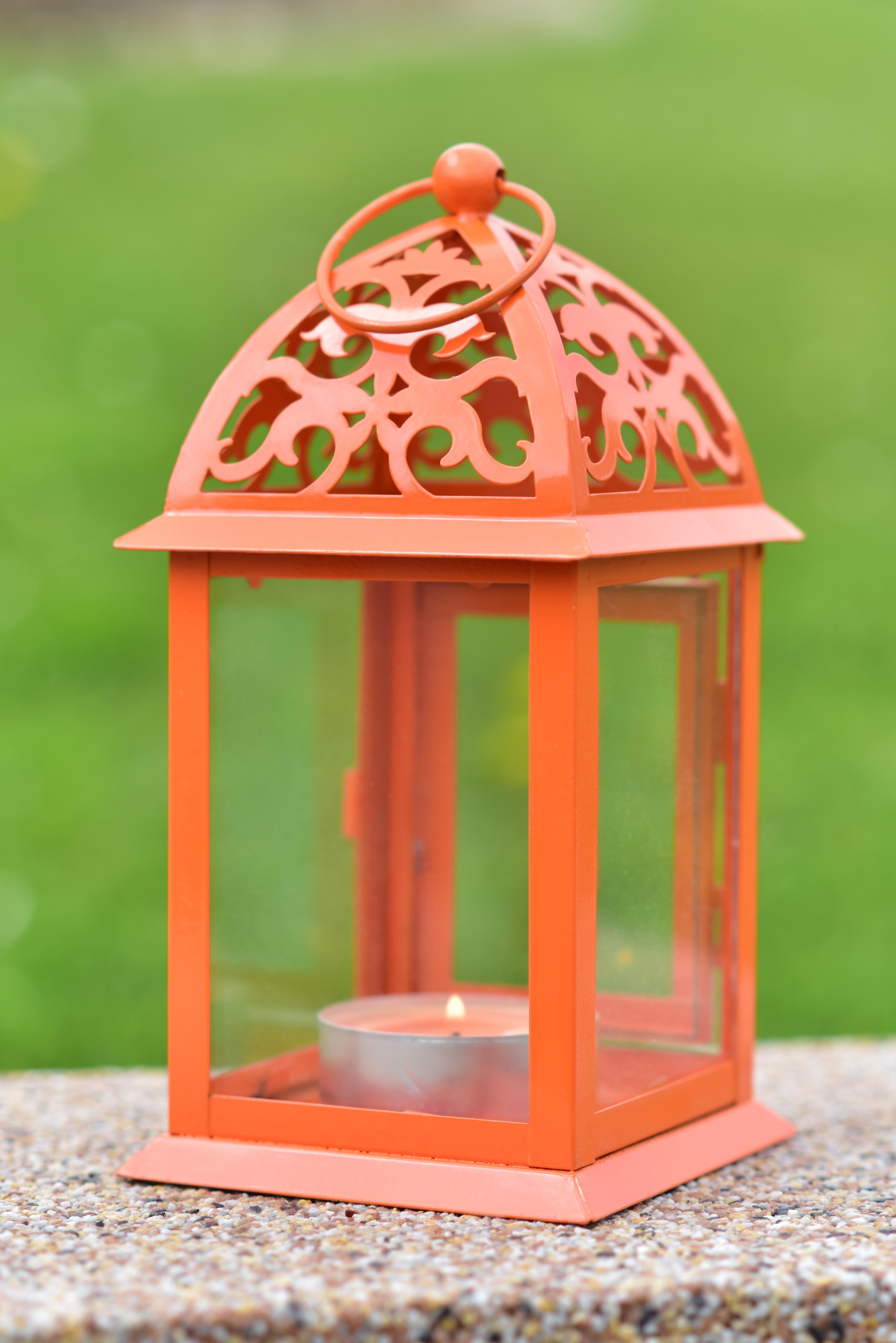 Kovová lucerna jasně oranžová 11 x 11 x 22 cm