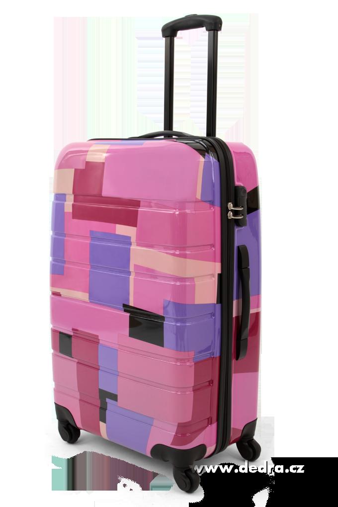 Skořepinový velký kufr,70 x 47 x 28 cm pink geometric