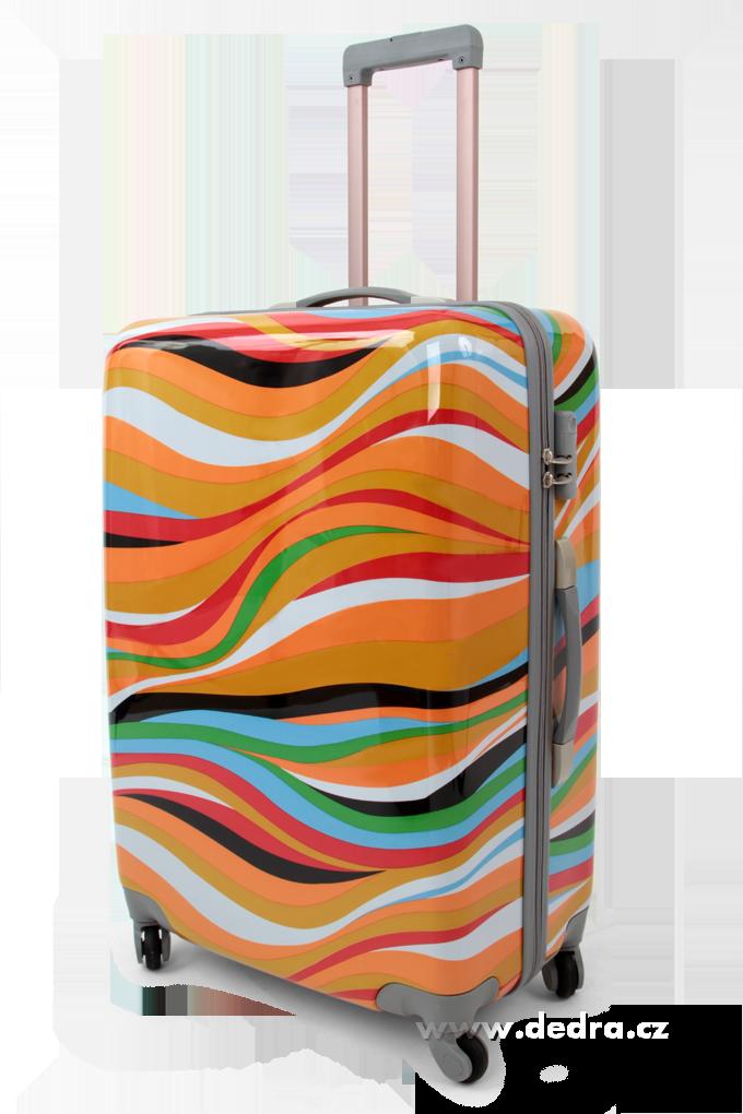 Skořepinový velký kufr,70 x 50 x 30 cm orange waves