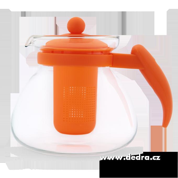 SKLENĚNÁ KONVICE, oranžová,1500 ml