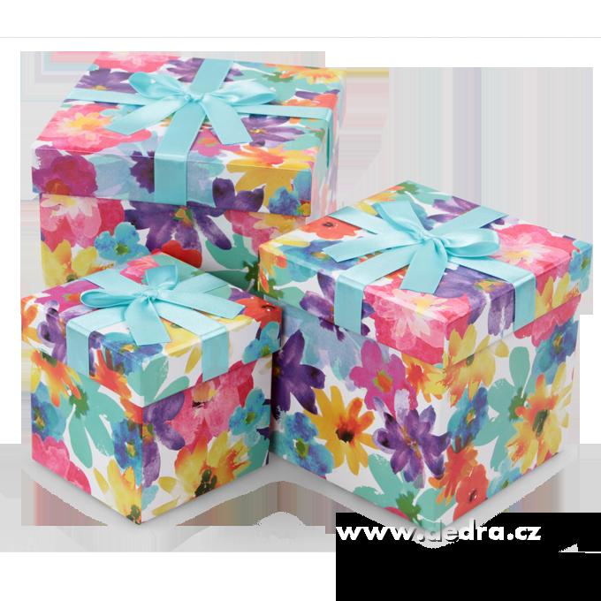 Sada 3 ks úložný box květinové, čtvercové