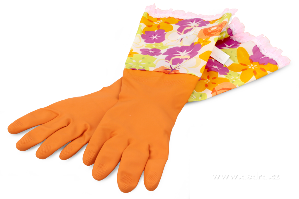 FUNNY dlouhé úklidové rukavice ochrannou manžetou na suchý zip