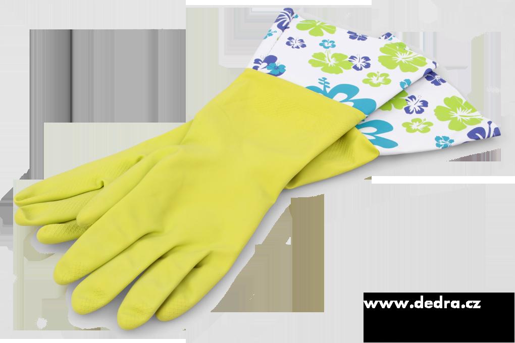 FLOWER dlouhé úklidové rukavice s vysokou ochrannou manžetou