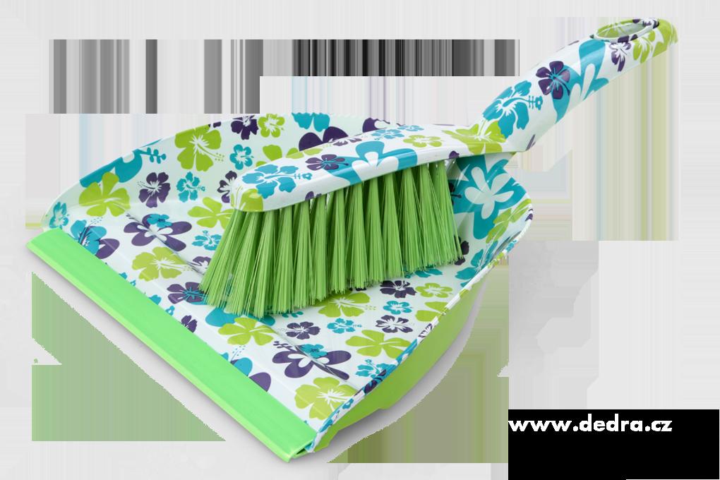 FLOWER velký smetáček s lopatkou zeleno-barevný