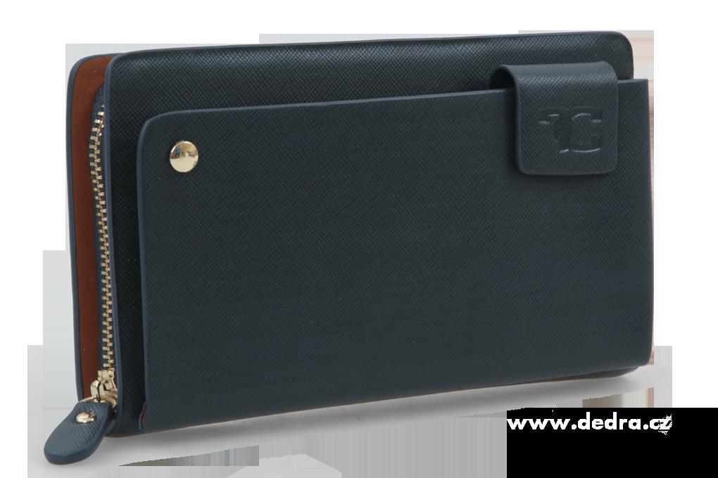 2in 1 luxusní pánská peněženka &  pouzdro Hlubinná černomodrá
