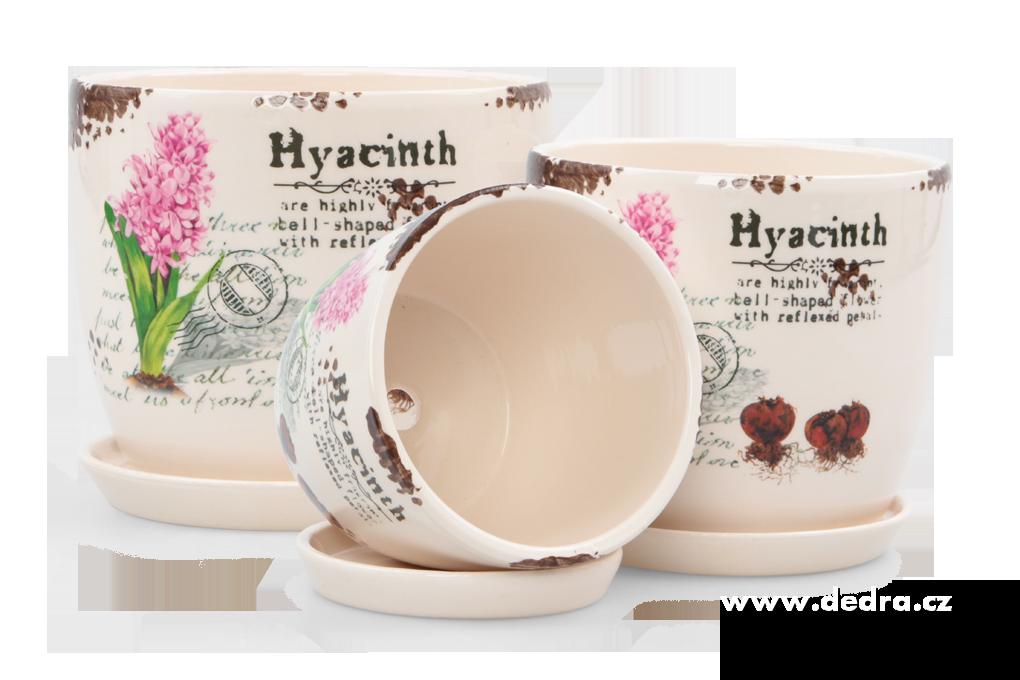 3 ks keramických obalů na květináč s motivem hyacint