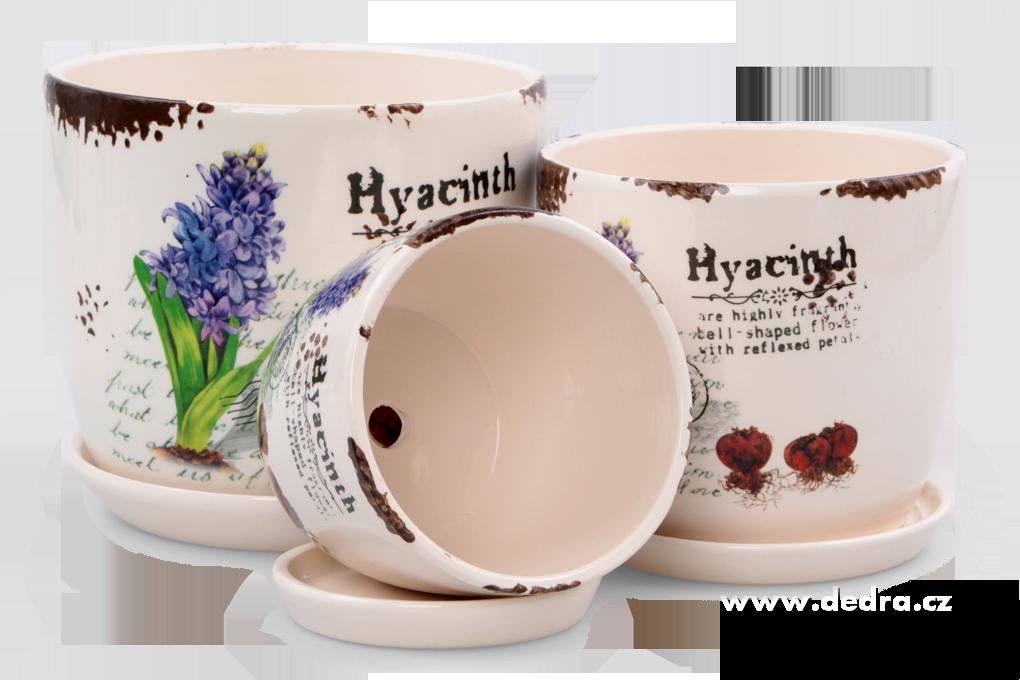 3 ks keramických obalů na květináč s motivem hyacintů