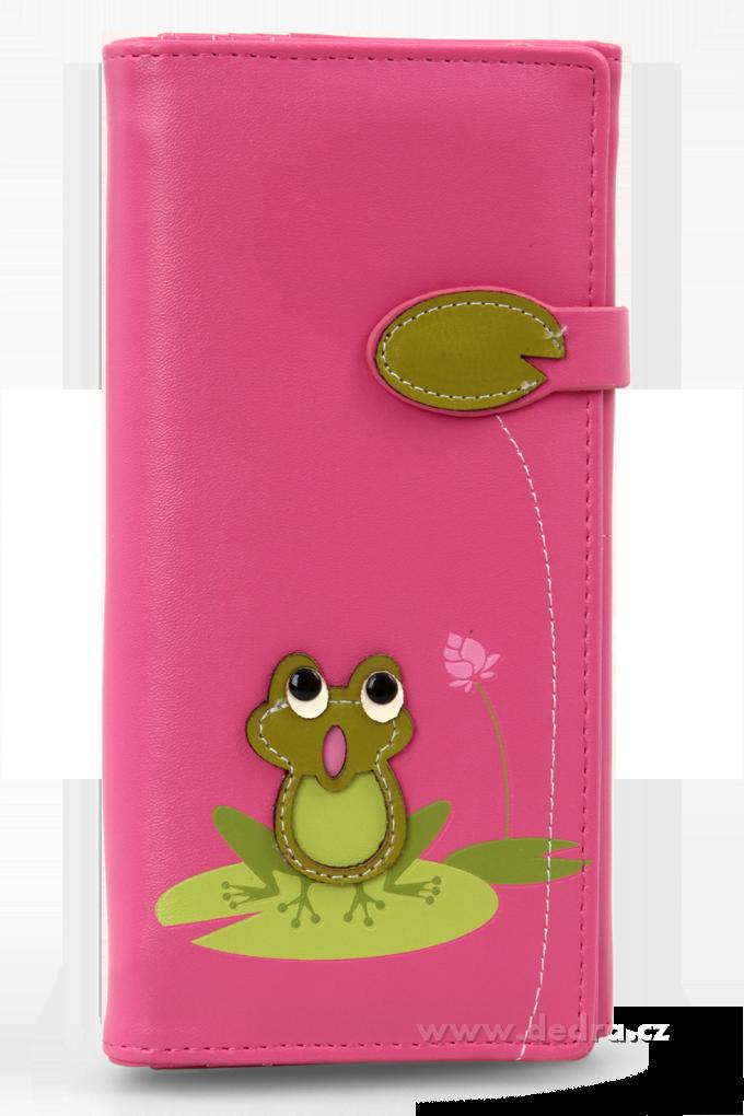 Dámská peněženka s aplikací žabky fuchsiová