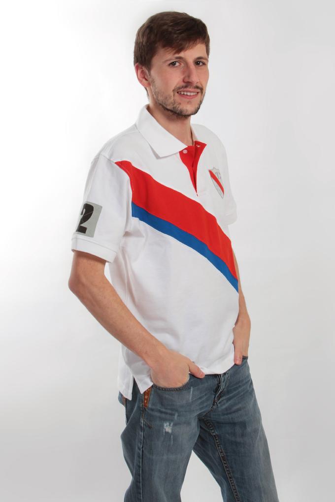 FC7669M-PIQUÉ POLO triko for men bielo-červené