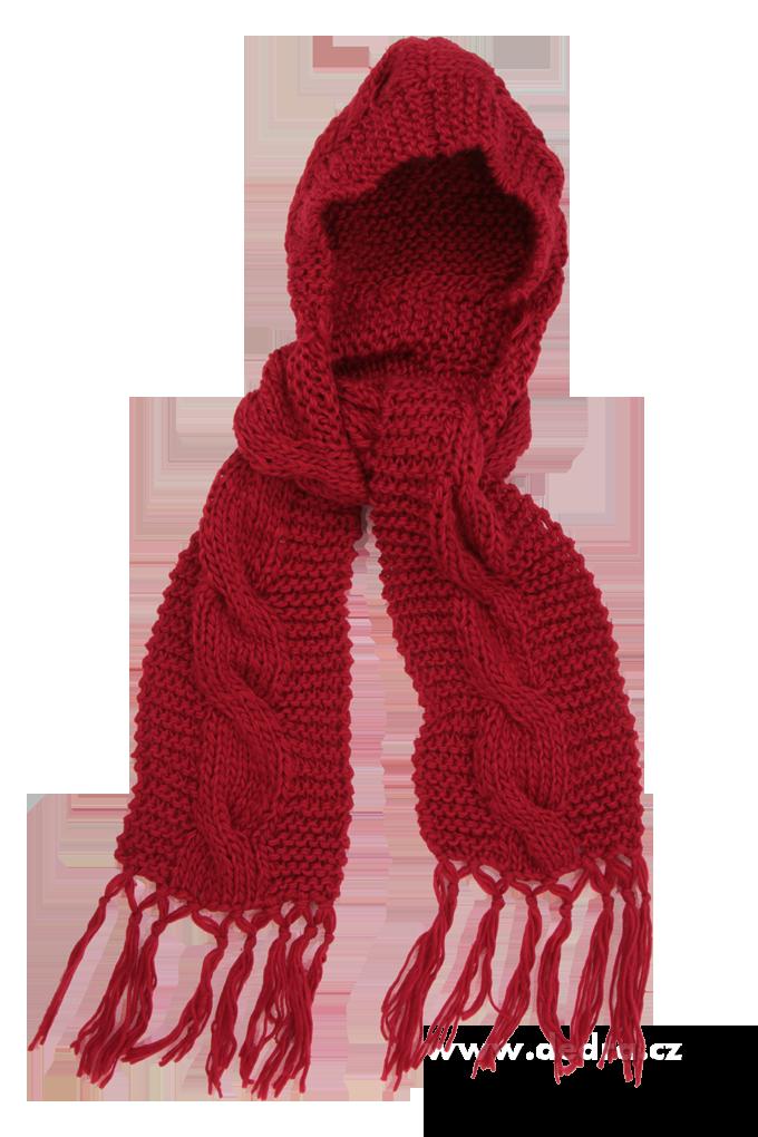 Hoody 2 v 1 šála s kapucí červená