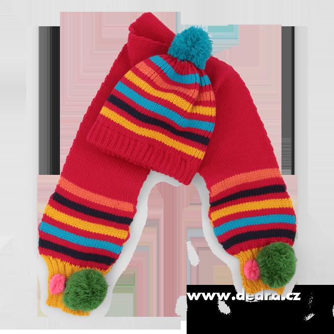 Dětská zimní sada čepice + šála červená
