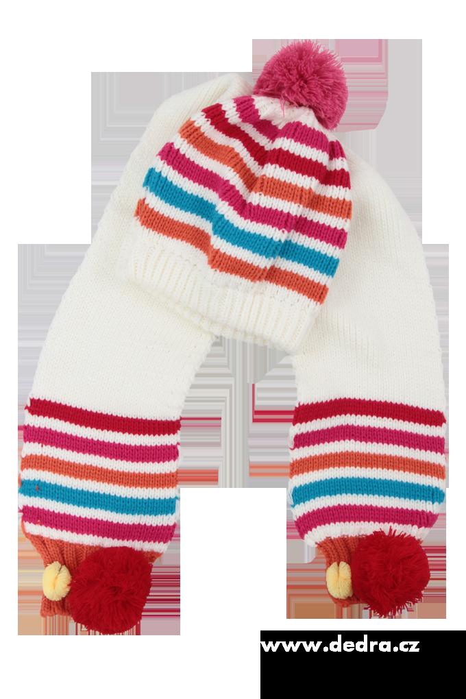 Dětská zimní sada čepice + šála bílá