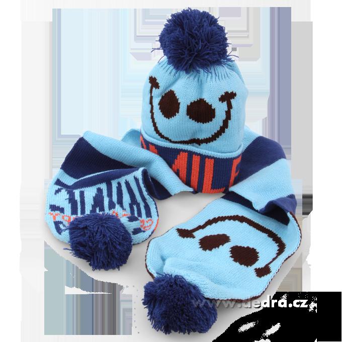 Dětská zimní sada čepice + šála modrá