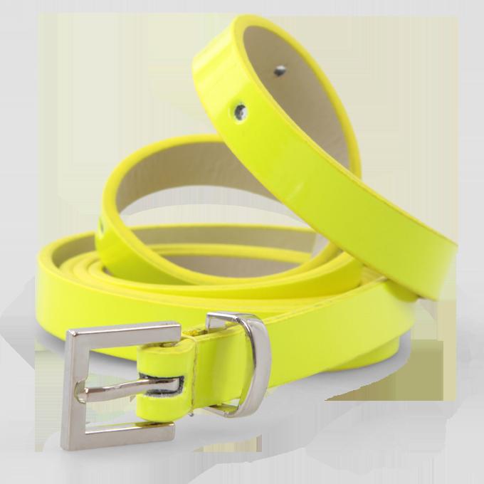 Úzký dámský pásek neonově žlutý