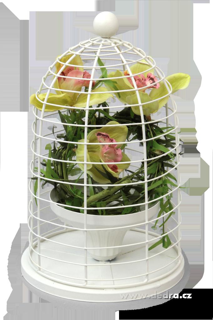 Kovový stojan na květiny ve tvaru klece, průměr 20 cm