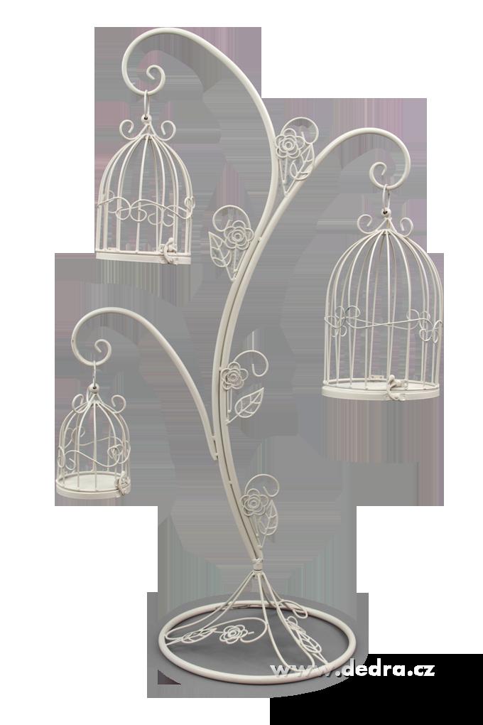Kovový dekorativní, strom se 3 klecemi