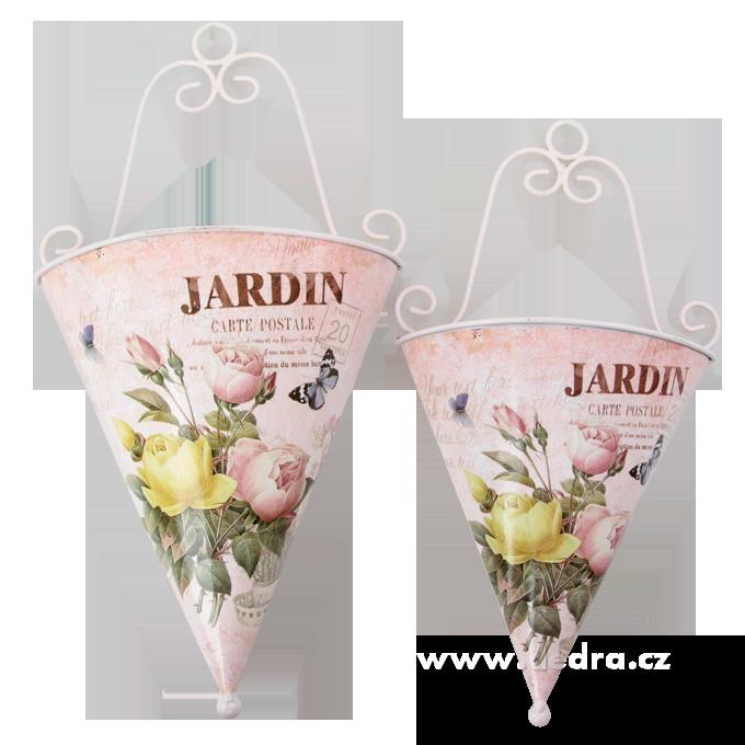 2ks závěsný obal na květináč JARDIN květinový motiv